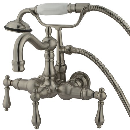 Hot Springs  Three Handle Wall Mount Clawfoot Tub Faucet with Hand Shower by Elements of Design