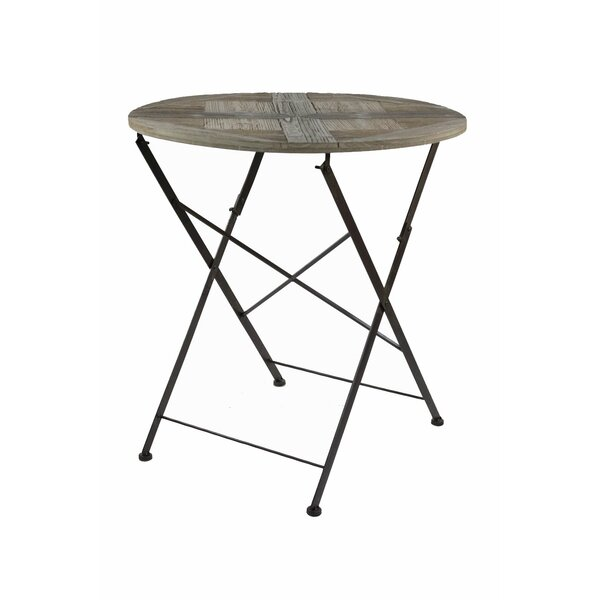 Crawfordsville Recycled Round Cross Folding Wooden Bistro Table by Williston Forge