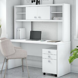 Echo Credenza 2 Piece Desk Office Suite with Hutch and Mobile File Cabinet