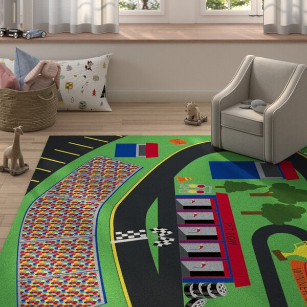 Hardesty Green/Black Area Rug by Zoomie Kids