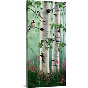 'Chickadees In The Birch Trees' by Julie Peterson Painting Print on Wrapped Canvas by Great Big Canvas