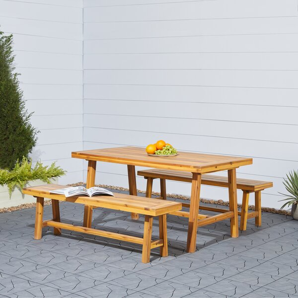 Macedonia 3 Piece Patio Dining Set by Millwood Pines