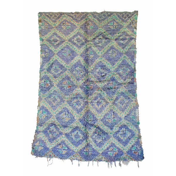 Zayane Vintage Moroccan Hand Knotted Wool Purple/Teal Are Rug by Indigo&Lavender