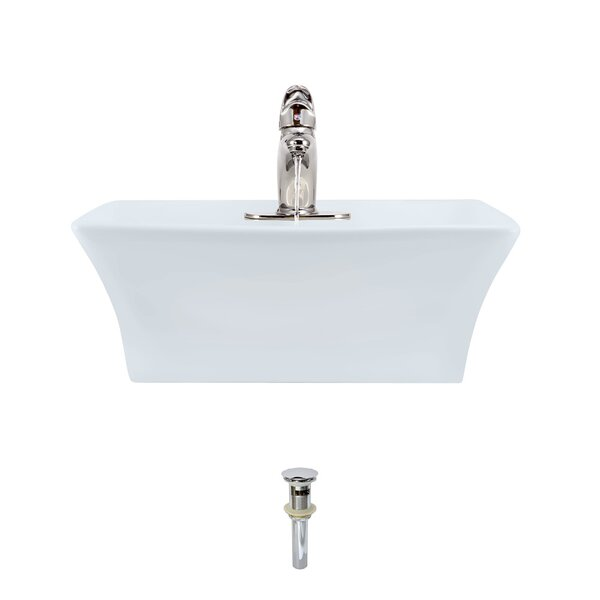 Vitreous China Rectangular Vessel Bathroom Sink with Faucet and Overflow by MR Direct