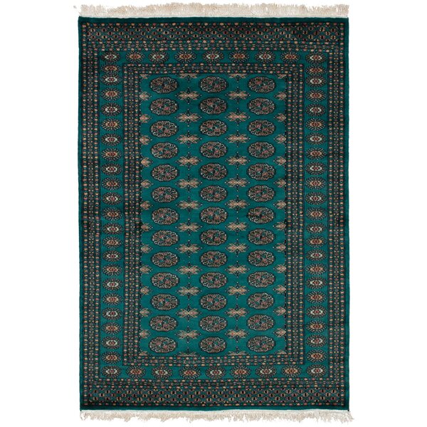 One-of-a-Kind Harsh Hand-Knotted Wool Dark Teal Area Rug by Isabelline