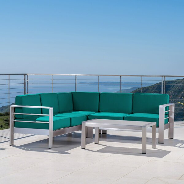 Elwyn 4 Piece Sectional Seating Group with Sunbrella Cushions by Orren Ellis