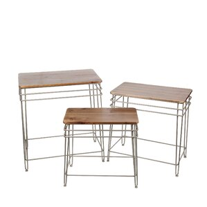 Zena Iron Wood 3 Piece Nesting Tables by 17 Stories