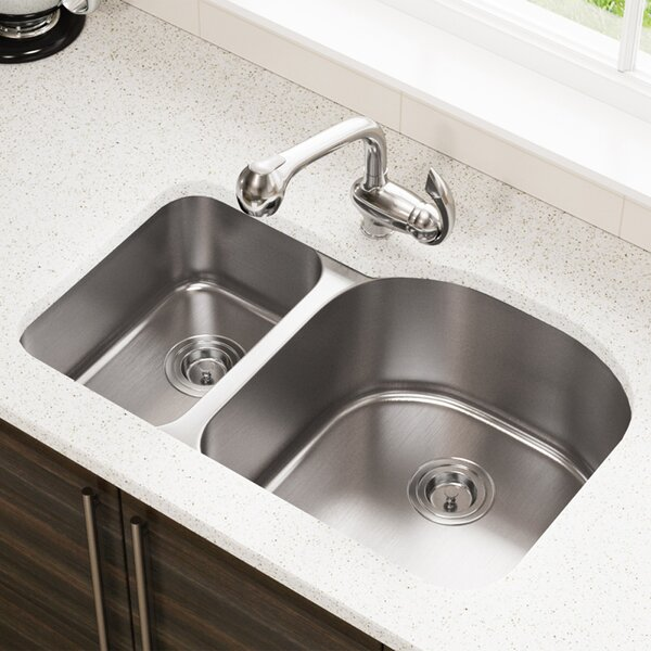 Stainless Steel 31 x 21 Double Basin Undermount Kitchen Sink by MR Direct