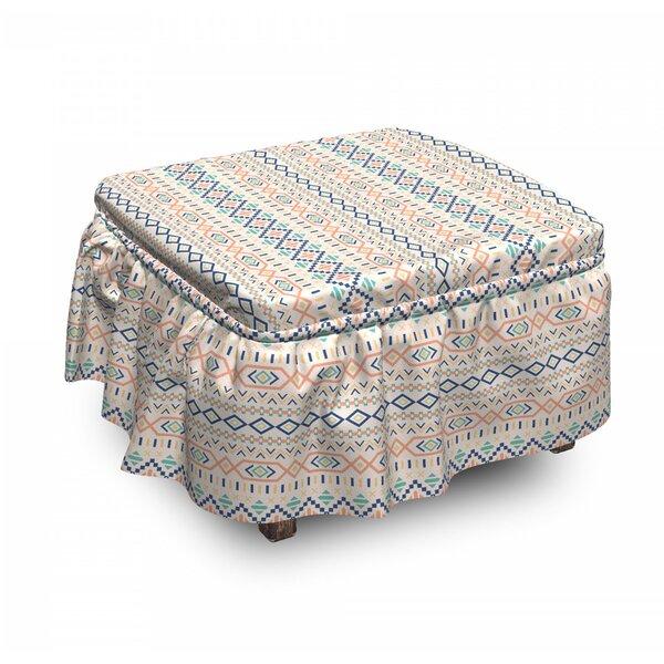 Geometric Tribal Culture Native 2 Piece Box Cushion Ottoman Slipcover Set By East Urban Home