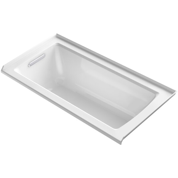 Archer VibrAcoustic Three-Wall Alcove Bath with Bask™ Heated Surface, Tile Flange and Left-Hand Drain by Kohler