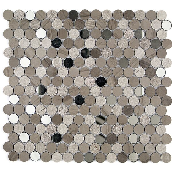 Mirage Penny 0.75 x 0.75 Marble/Glass Mosaic Tile in Gray/Beige by Splashback Tile