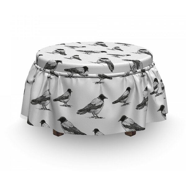 Sketchy Monochrome Bird Ottoman Slipcover (Set Of 2) By East Urban Home