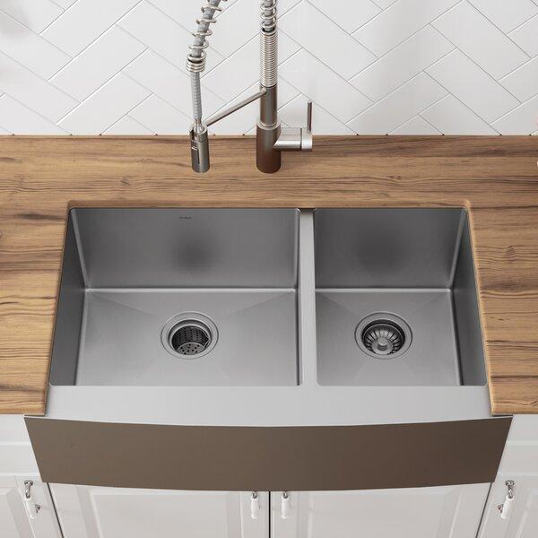 36 L x 21 W Double Basin Farmhouse Kitchen Sink wi