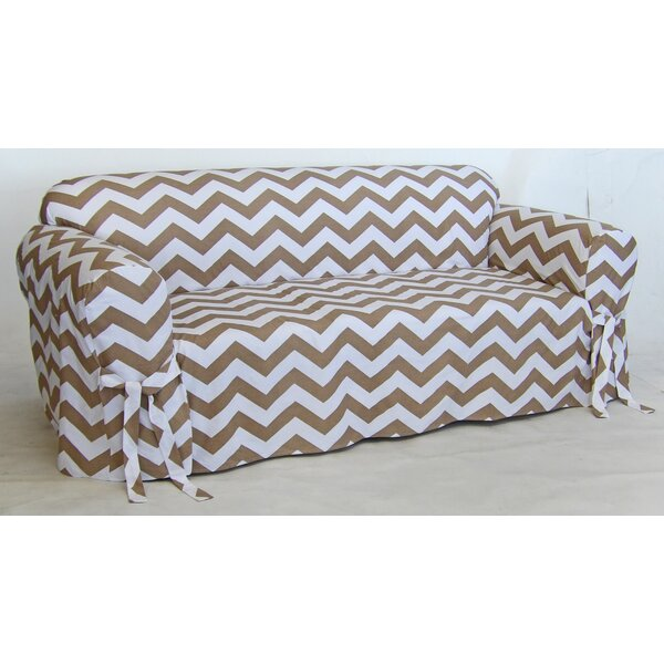 Chevron Box Cushion Sofa Slipcover by Latitude Run