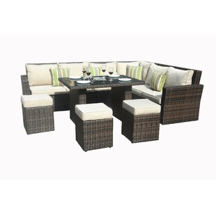 Angelica 8 Piece Rattan Sectional Seating Group with Cushions by Bayou Breeze