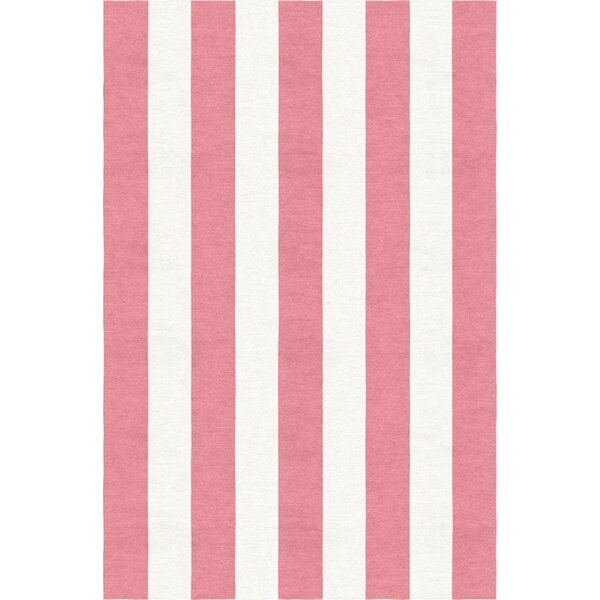Burnell Hand-Woven Wool Pink/White Area Rug by Longshore Tides