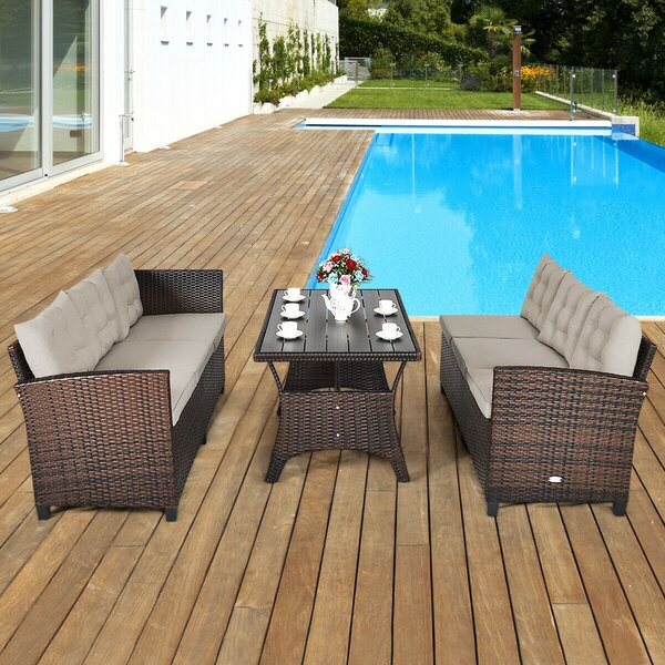 Deo Patio 3 Piece Rattan Sectional Seating Group with Cushions by Latitude Run