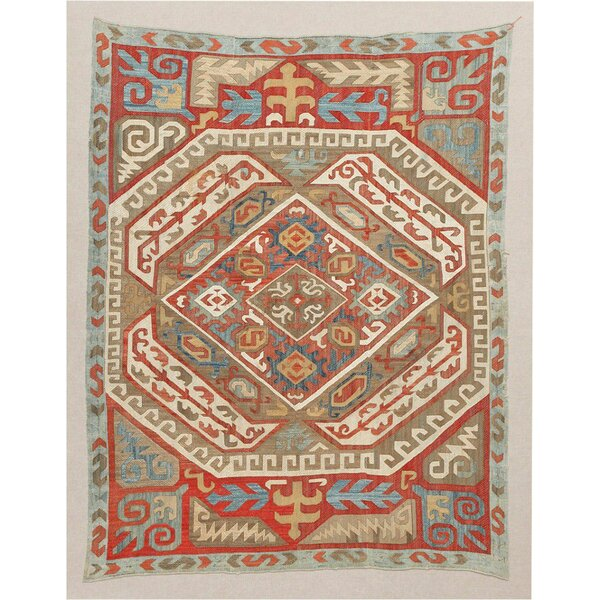 One-of-a-Kind Hand-Knotted Before 1900 Azerbaijan Red 4' x 5'4 Silk Area Rug