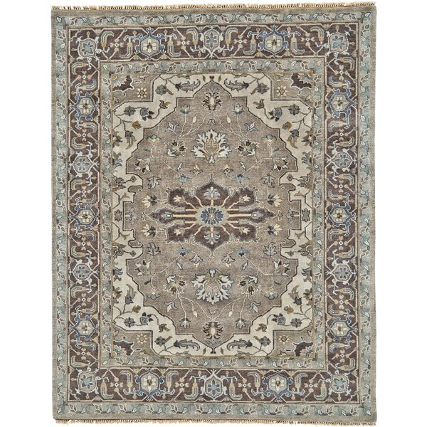 Flaxberry Oriental Hand-Knotted Wool Walnut Area Rug
