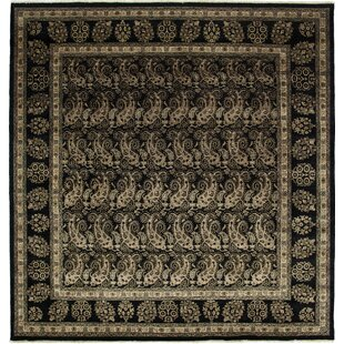 Affordable One-of-a-Kind Desdemona Hand-Knotted Black Area Rug By Isabelline