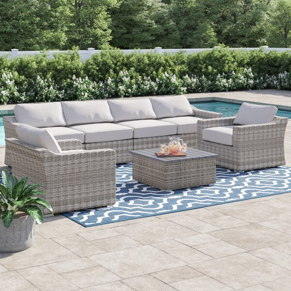 Dayse 7 Piece Rattan Sectional Seating Group With Cushions By Sol 72 Outdoor by Sol 72 Outdoor Design