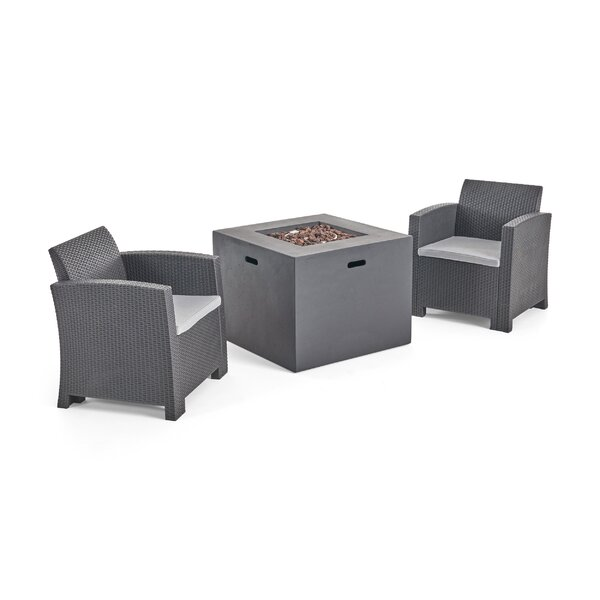 Warrensburg 3 Piece Wicker Print Seating Group with Cushions by Brayden Studio