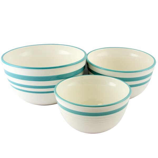 General Store Hollydale 3 Piece Stoneware Mixing Bowl Set by Gibson