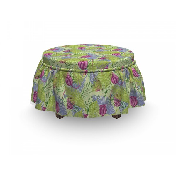 Pointy Palm Tree Leaves Ottoman Slipcover (Set Of 2) By East Urban Home