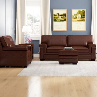 Cabott Genuine Leather Living Room Set by Three Posts™