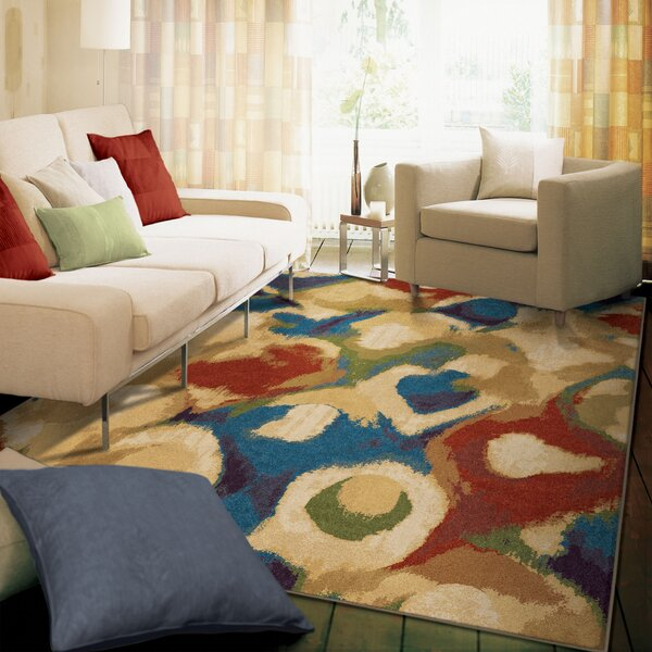 Broken Glass Abstract Beige/Blue Area Rug by The Conestoga Trading Co.