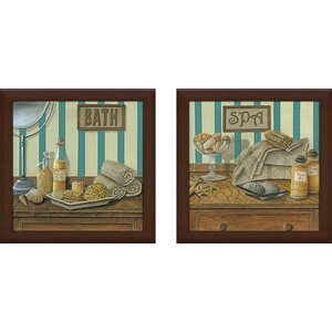 'Spa' 2 Piece Framed Acrylic Painting Print Set Under Glass by Beachcrest Home