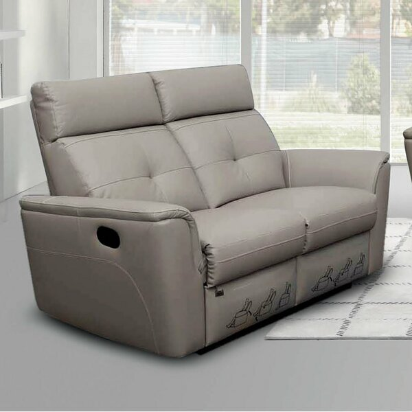 Mckean Leather Reclining Loveseat