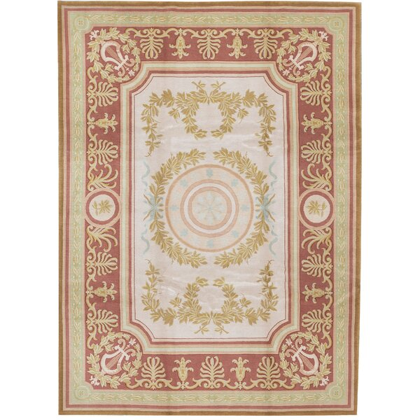 One-of-a-Kind Renaissance Hand-Knotted Red/Gold/Pink 9' x 12'1 Wool Area Rug