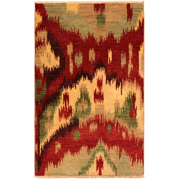 One-of-a-Kind Lutz Hand Knotted Wool Red/Tan Area Rug by World Menagerie