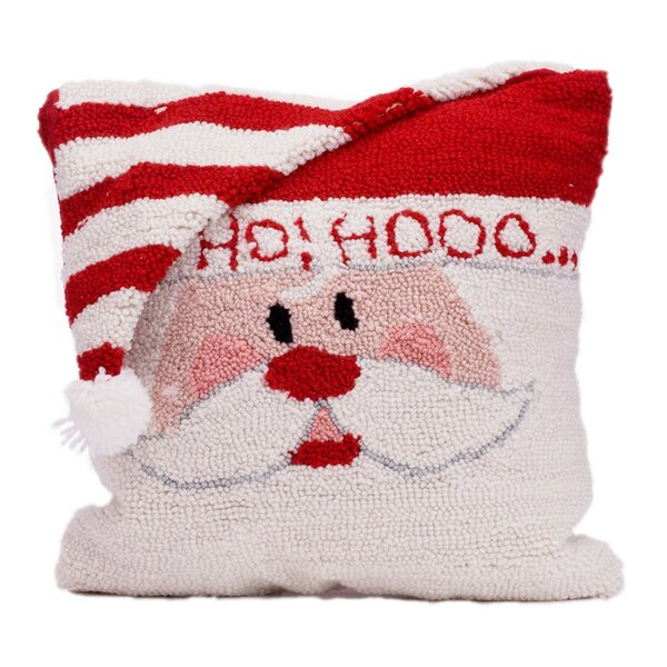 Santa Hooked Throw Pillow by Glitzhome