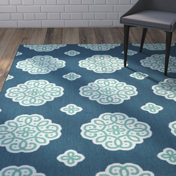 Shumake New Medallion Blue Area Rug by Wrought Studio