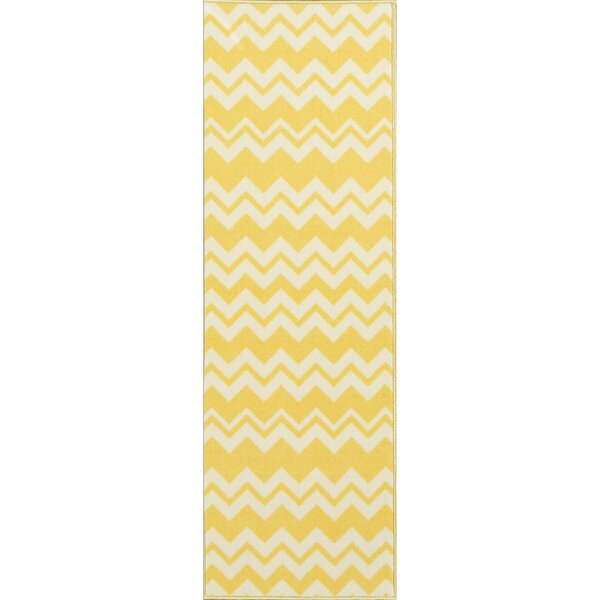 Barry Chevron Waves Yellow Area Rug by Viv + Rae
