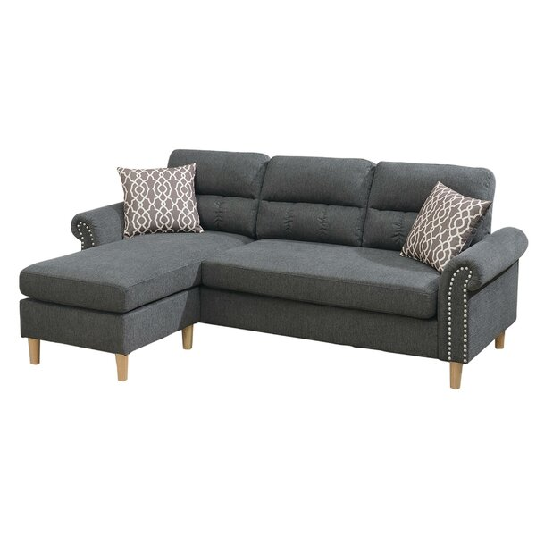 Cornell Velvet 87.3'' Rolled Arm Sofa Chaise By Everly Quinn