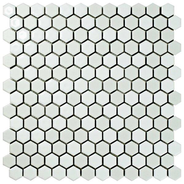 Astraea Hex 0.9 x 1.01 Porcelain Mosaic Tile in White by EliteTile