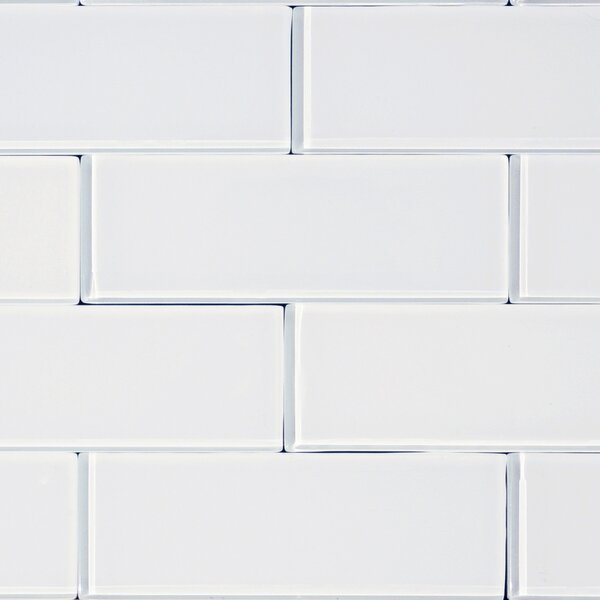 3 x 8 Glass Subway Tile in Snow by The Bella Collection