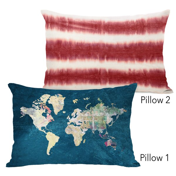 Harmony Where to Next and Dye Pattern Candy 2 Piece Lumbar Pillow Set by Ebern Designs
