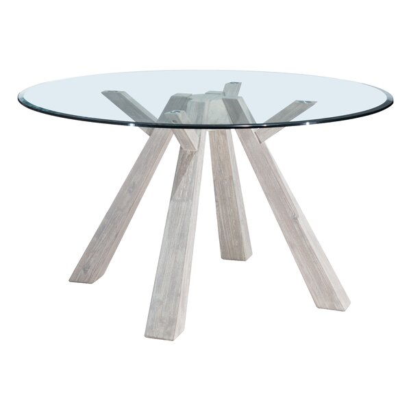 Cavanaugh Glass Round Dining Table by Rosecliff Heights