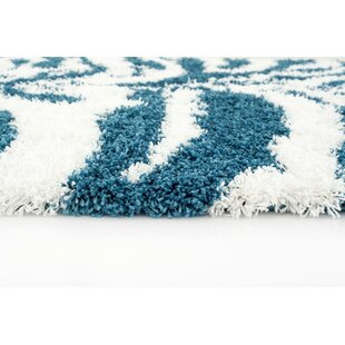 Compare prices Creissant Turquoise/White Indoor/Outdoor Area Rug By Willa Arlo Interiors