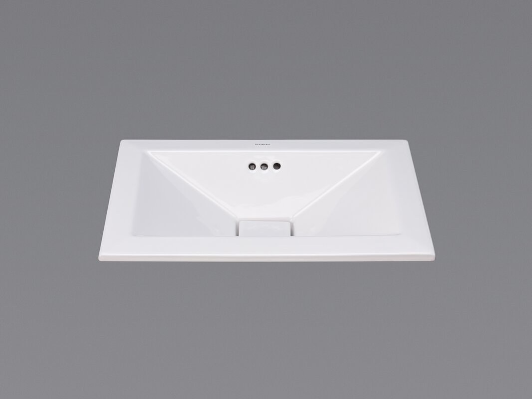 Pyramid Ceramic Rectangular Drop In Bathroom Sink With Overflow Reviews Perigold