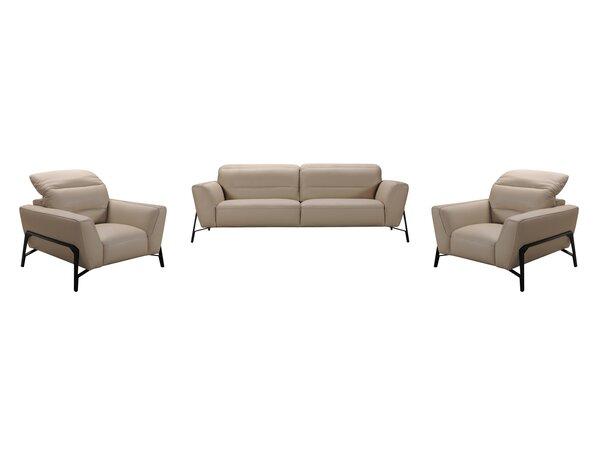 Coalpit Heath 3 Piece Leather Living Room Set by Orren Ellis