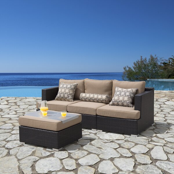 Hallwood 4 Piece Sectional Seating Group with Sunbrella Cushions by Ivy Bronx