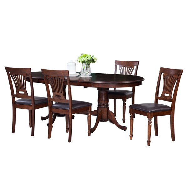 Doretha Traditional 5 Piece Solid Wood Dining Set with Dual Pedestal Table by Darby Home Co