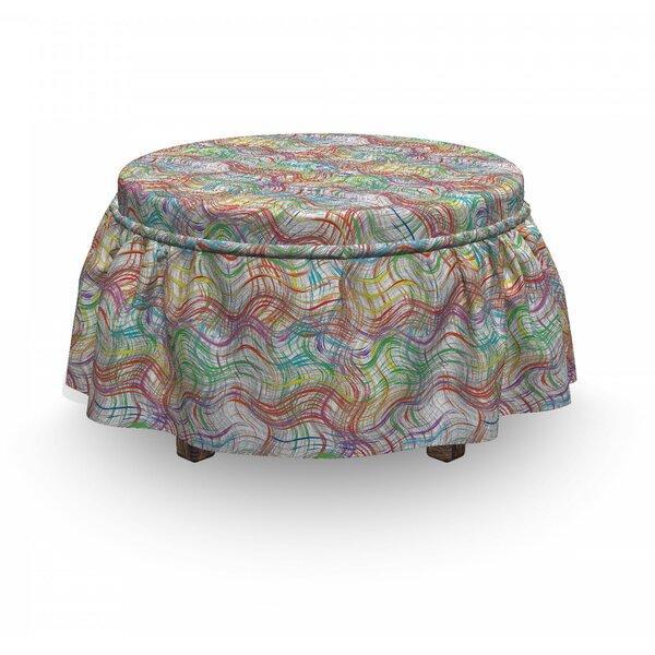 Grunge Wavy Stripes 2 Piece Box Cushion Ottoman Slipcover Set By East Urban Home