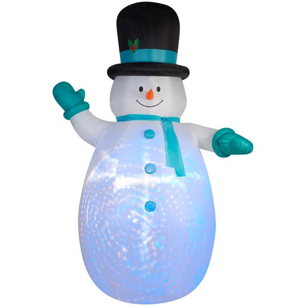Airblown Projection Giant Snowman With Swirls Inflatable By The Holiday Aisle.