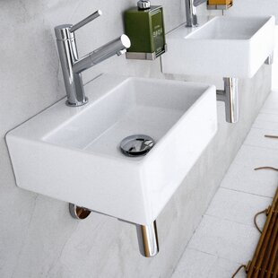 Compare Quarelo Ceramic 13 Wall Mount Bathroom Sink ByWS Bath Collections